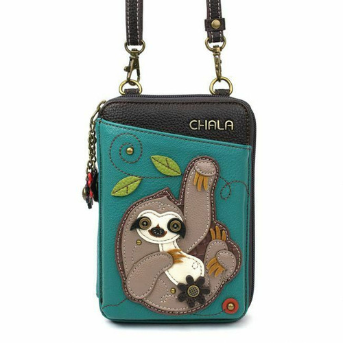 New Chala Wallet Crossbody Pleather Organizer Cellphone Bag SLOTH Turquoise Blue