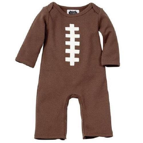New Mud Pie One Piece FOOTBALL 0-3 Months Brown Newborn Infant Baby Shower gift