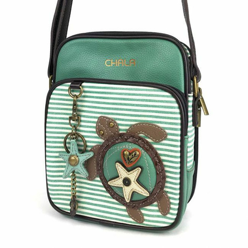 Chala Bag Messenger ORGANIZER Crossbody TURTLE Teal Stripe Teal Green gift