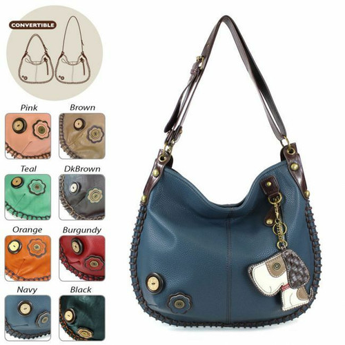 Chala CONVERTIBLE Hobo Large Bag TOFFY DOG Peather Navy Blue gift coin purse