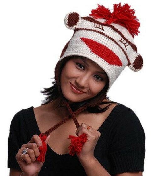 New Animal Face Hat LAUGHING SOCK MONKEY Beanie Winter Ski Cap ADULT Gift