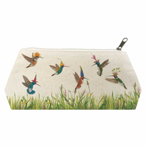 New PPD Vicki Sawyer Cosmetic Make-up Bag MEADOW BUZZ Hummingbirds Gift Large
