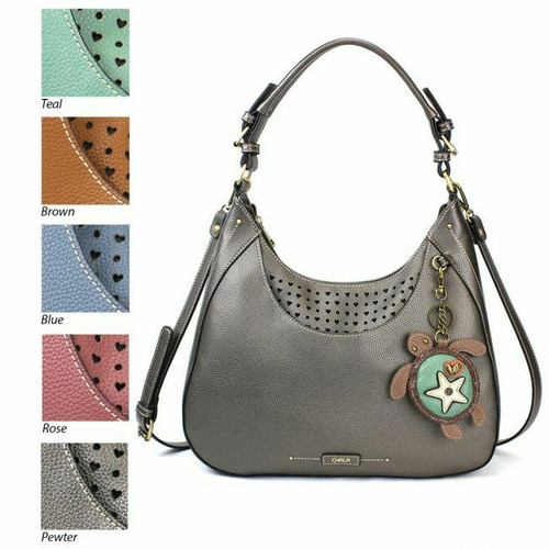 Chala Sweet Tote Hobo Pewter Grey Gray Crossbody  Shoulder Bag  SEA TURTLE gift