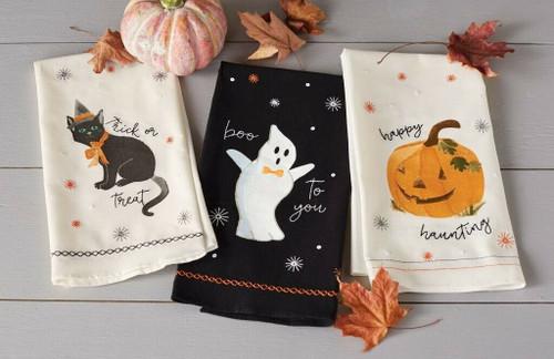 Neu Set mit 3 Mud Pie Halloween Pailletten Handtücher Weiß Schwarz Bestickt Deko
