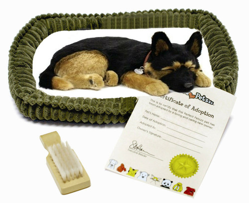 New Perfect Petzzz Breathing Dog Puppy Stuffed Toy Plush GERMAN SHEPHERD w/ bed
