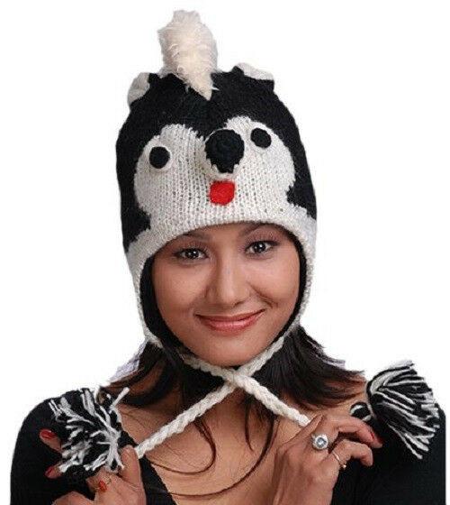 New Animal Face Hat Black White SKUNK Wool Beanie Winter Ski Cap ADULT Warm Gift