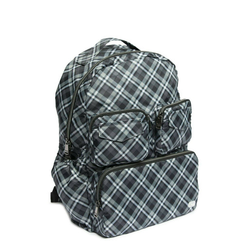New Lug Travel Puddle Jumper Packable Backpack PLAID GREY GRAY LIghtweight gift