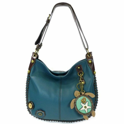 Chala CONVERTIBLE Hobo Large Bag SEA TURTLE  Peather Navy Blue gift coin purse
