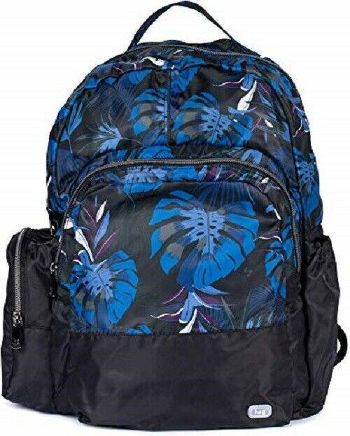 New Lug Travel Echo PACKABLE Backpack School Work Gym BOTANICAL BLACK Blue gift