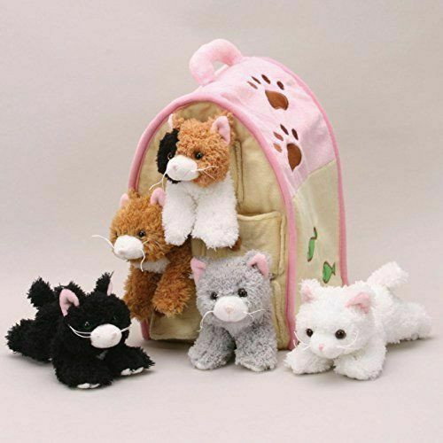 """NEW  Unipak CAT HOUSE Plush toy gift 5 Cats in Carrying Case Stuffed Animal 10"""""""