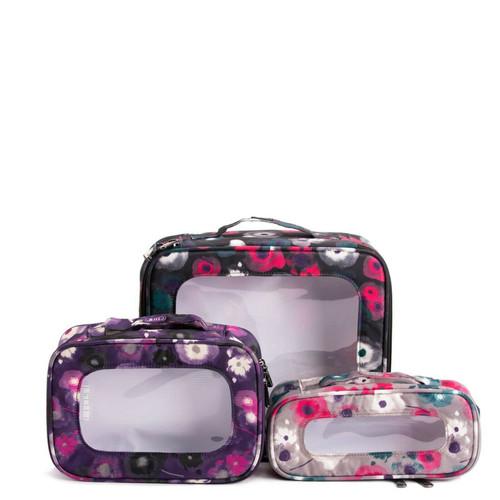New Lug Travel 3 pc. BENTO BOX Organization Cosmetic Clothing WATERCOLOR Purple