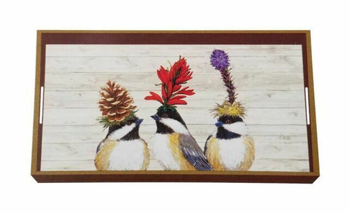 """New PPD  Wood Lacquer Vanity Tray Vicki Sawyer 12 x 7"""" CHICKADEE SISTERS Birds"""