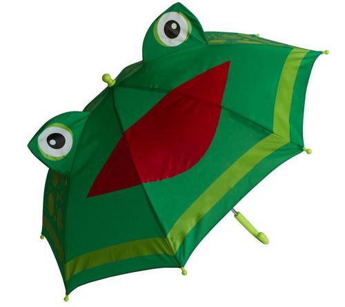 New Shed Rain Green  FROG Child Stick Umbrella Black w/ Cat Ears No Pinch gift