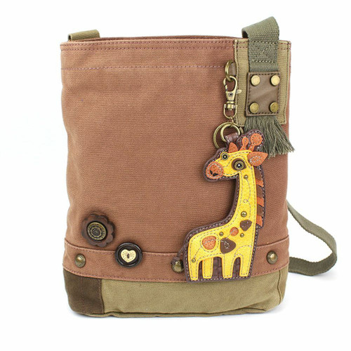 New Chala Patch Crossbody Bag Canvas gift Mauve Purple Violet Giraffe