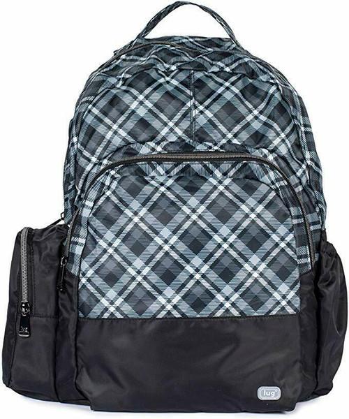 New Lug Travel Echo PACKABLE Backpack School Work Gym PLAID GREY GRAY Lightweigh