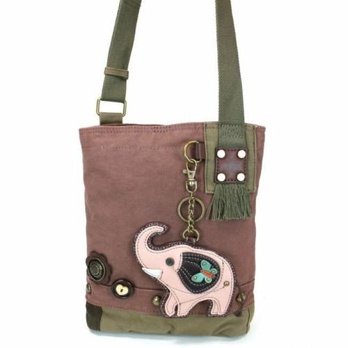Chala  Patch Crossbody ELEPHANT  Bag Canvas Mauve Purple Violet W/ Coin Purse