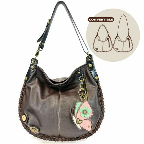 Chala CONVERTIBLE Hobo Large Bag BUTTERFLY Pleather Dark Brown w/ Coin purse