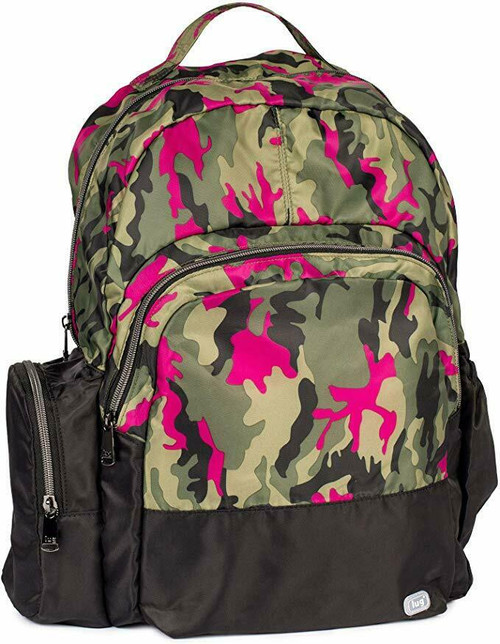 New Lug Travel Echo PACKABLE Backpack School Work Gym CAMO ORCHID Pink Green