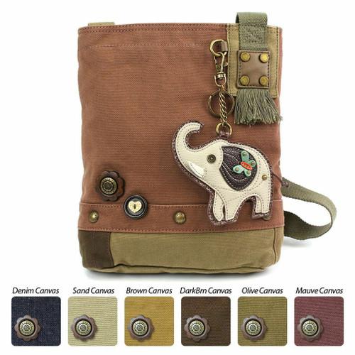 Chala  Patch Crossbody GREY ELEPHANT  Bag Canvas Mauve Purple Violet Coin Purse