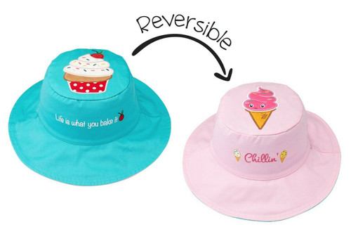 New FlapJack Kids Reversible Hat UPF 50+ Medium 2-4 yrs CUPCAKE ICE CREAM Pink