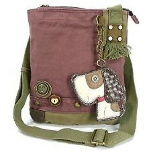 New Chala  Patch Crossbody TOFFY DOG Bag Canvas gift Mauve Purple Violet Small