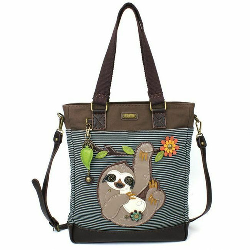 New Chala WORK TOTE Crossbody Pleather Bag SLOTH Blue Stripes Large Convertible