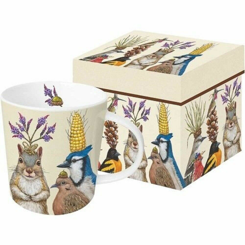 New PPD Gift Boxed Mug Bone China 13.5 oz Vicki Sawyer PARTY SNACKS Birds Fun