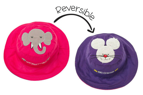 New FlapJack Kids Reversible Hat UPF 50+ ELEPHANT MOUSE Med 2-4 yrs Pink Purple