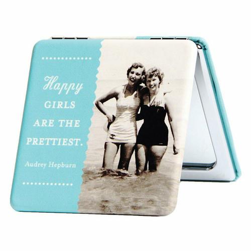 New Shannon Martin Compact Mirror Fun Stocking Stuffer Holiday gift HAPPY GIRLS