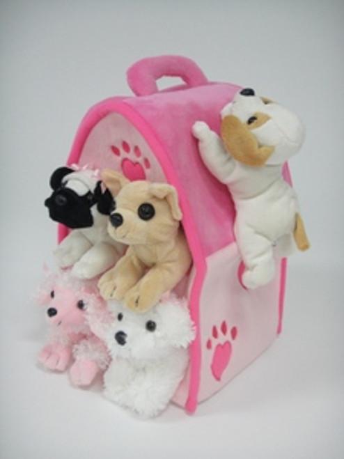 """Unipak 12"""" PINK DOG HOUSE Plush Stuffed toy"""
