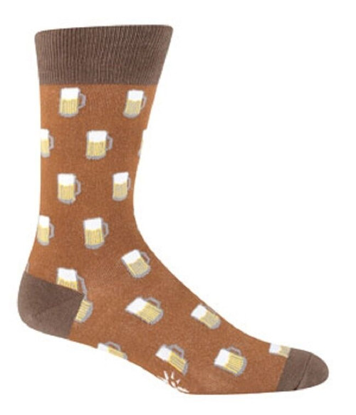 New Sock it to Me Men's Socks BEER Dad Grad Holiday gift Brown Shoe Size  7-13