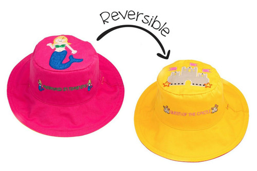 New FlapJack Kids Reversible Hat UPF 50+ Medium 2-4 yrs MERMAID SANDCASTLE Pink