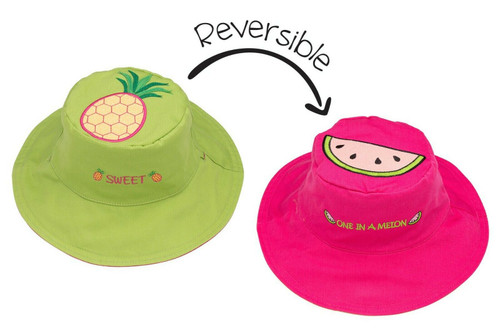 New FlapJack Kids Reversible Hat UPF 50+ Med 2-4 yrs PINEAPPLE WATERMELON Pink