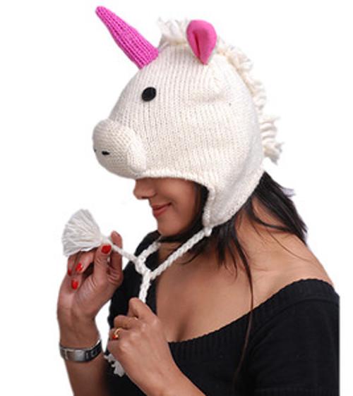 Animal Face Hat White UNICORN Wool Beanie Winter Ski Cap ADULT Warm Gift