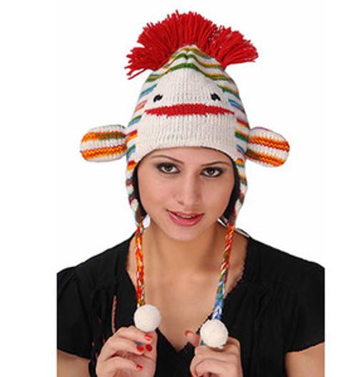 Animal Face Hat RAINBOW STRIPES MONKEY Beanie Winter Ski Cap ADULT Gift