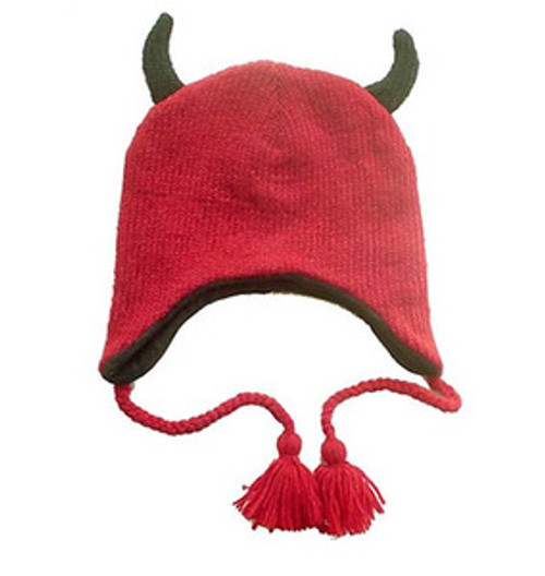 Animal Face Hat RED DEVIL Beanie Winter Ski Cap ADULT Wool Lined Warm Gift