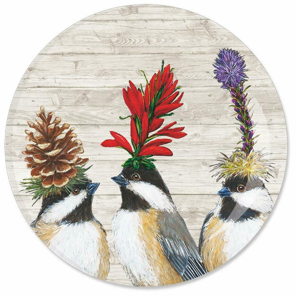 "New Set of 2 Appetizer Plates 7"" Vicki Sawyer Bone China CHICKADEE SISTERS Birds"
