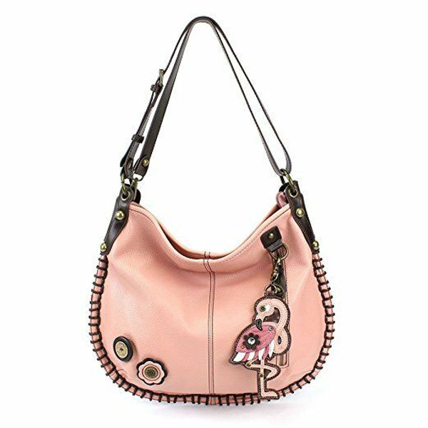 New Chala Hobo Crossbody Large Tote Bag FLAMINGO Pleather PINK Convertible