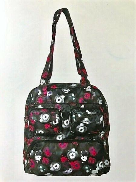New Lug Puddle Jumper PACKABLE Carryall Overnight Gym  Bag WATER BLACK Floral