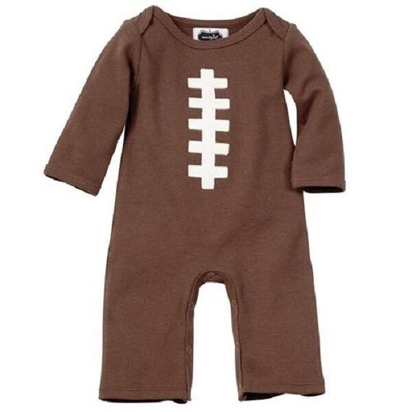 New Mud Pie One Piece FOOTBALL 0-3 Months Brown Newborn Infant Baby Shower gift