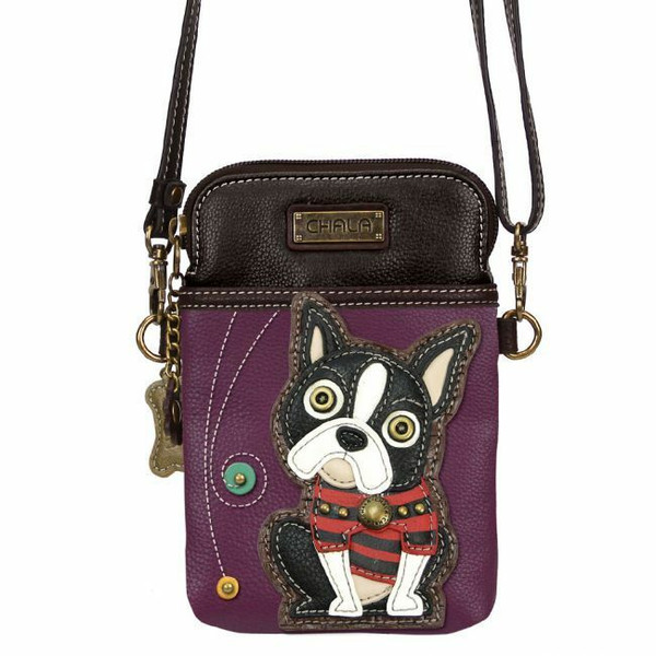 Chala Cell Phone Purse Crossbody Pleather Convertible BOSTON TERRIER Dog Purple