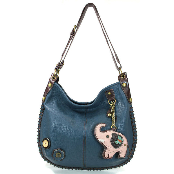 Chala CONVERTIBLE Hobo Large Bag ELEPHANT  Peather Navy Blue gift coin purse