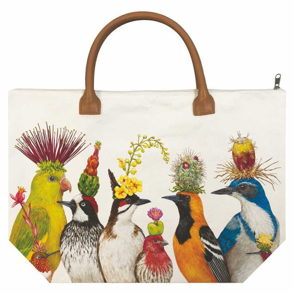 New PPD Vicki Sawyer Canvas Tote Bag THE ENTOURAGE Birds Gift Large White