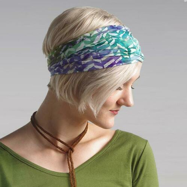New Wide Headband Wrap Pullover Bandana Wrapsody Chemo Scarf CHEVRON Teal Batik