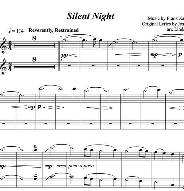 Silent Night Solo and Duet+Vocal Trio w/ KARAOKE and ORIGINAL BACKTRACK - Sheet Music