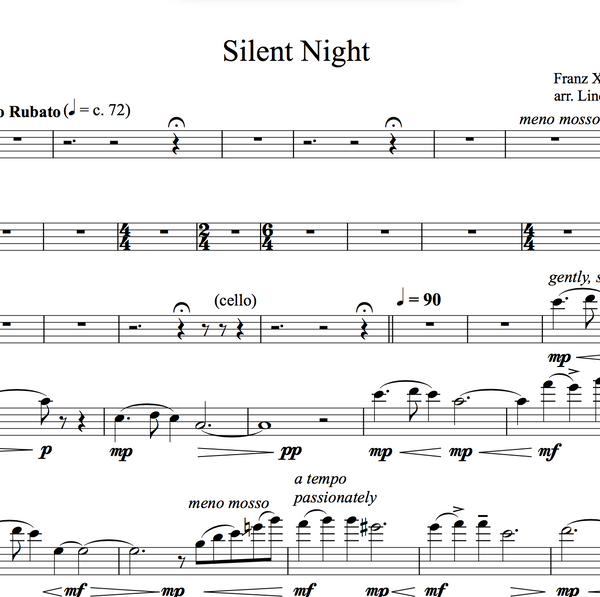 VIOLA Silent Night Solo and Duet+Vocal Trio w/ Karaoke Piano Play-Along Tracks - Sheet Music