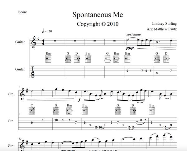 GUITAR Spontaneous Me Sheet Music w/ KARAOKE