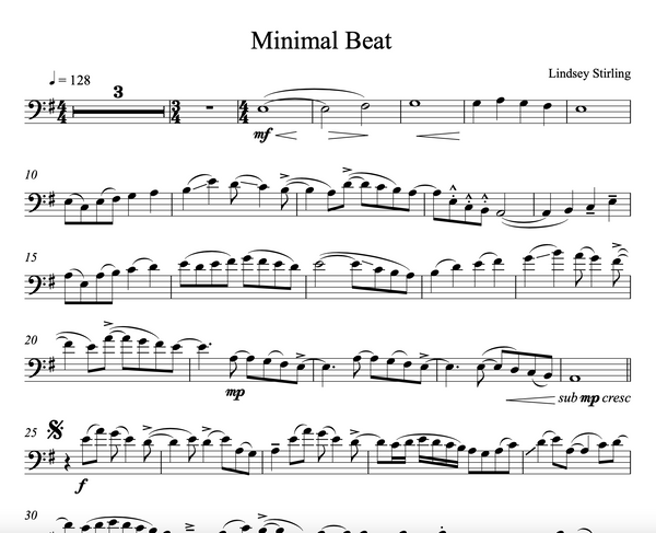CELLO Minimal Beat Sheet Music w/ KARAOKE