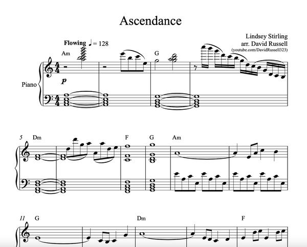 PIANO Ascendance Sheet Music