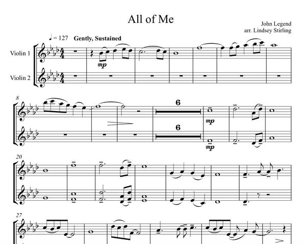 All of Me  Duet Sheet Music